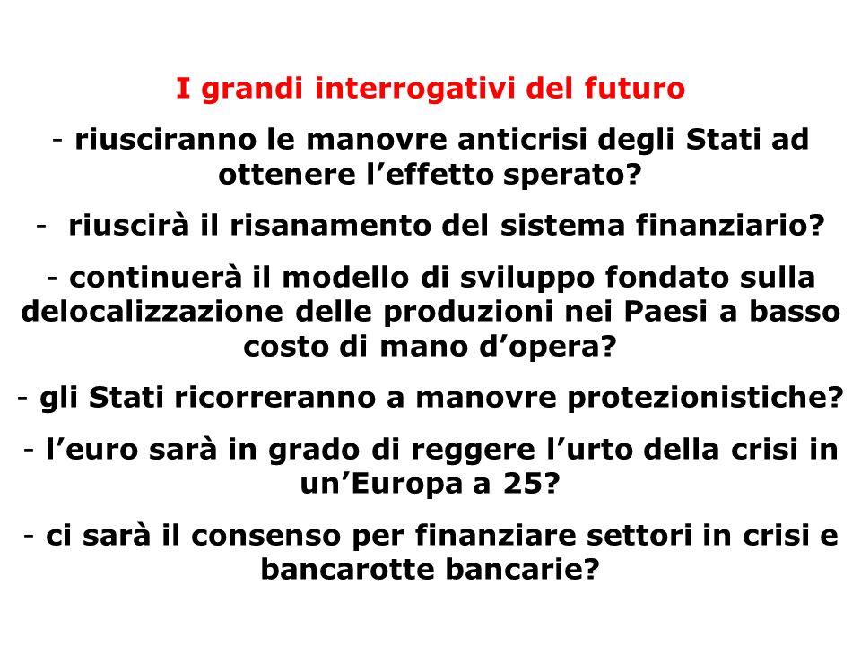 I grandi interrogativi del futuro - riusciranno le manovre anticrisi degli Stati ad ottenere leffetto sperato? - riuscirà il risanamento del sistema f
