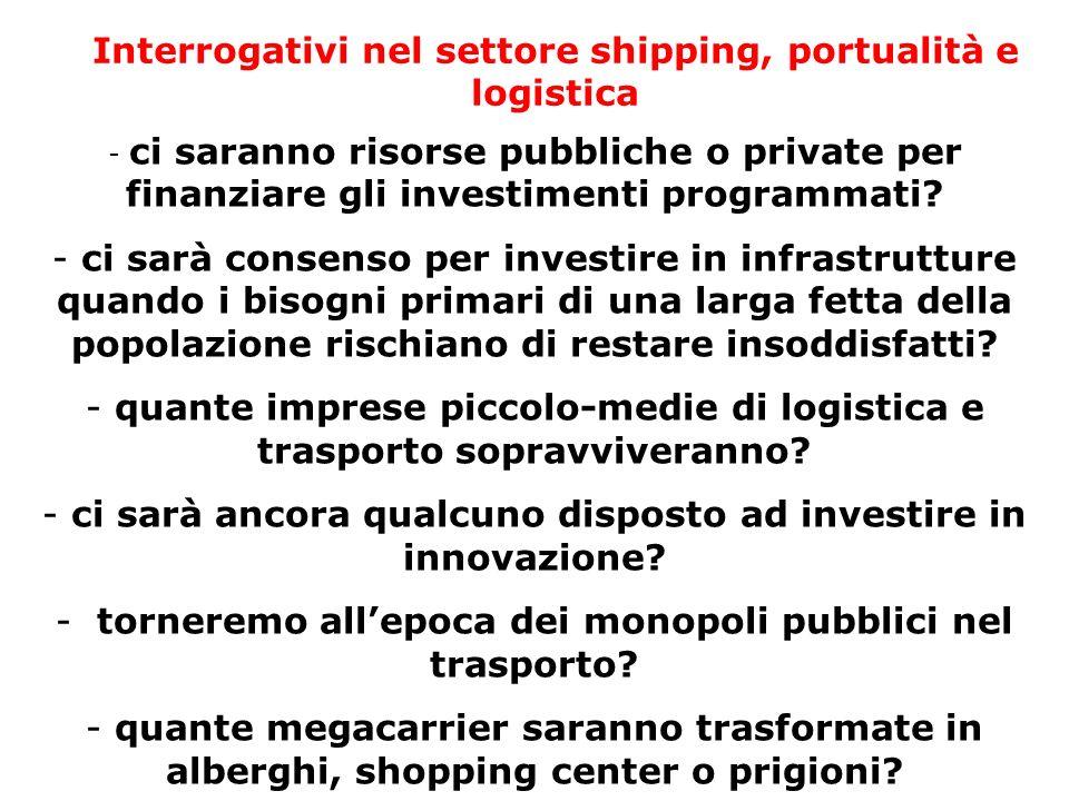 Interrogativi nel settore shipping, portualità e logistica - ci saranno risorse pubbliche o private per finanziare gli investimenti programmati? - ci