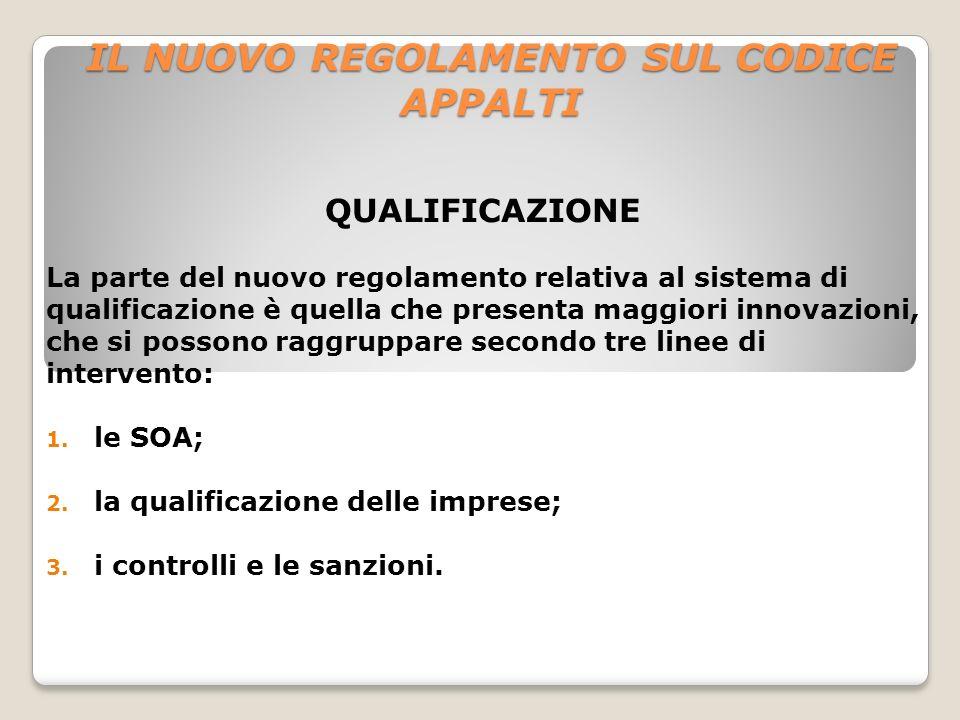 IL NUOVO REGOLAMENTO SUL CODICE APPALTI QUALIFICAZIONE La parte del nuovo regolamento relativa al sistema di qualificazione è quella che presenta magg