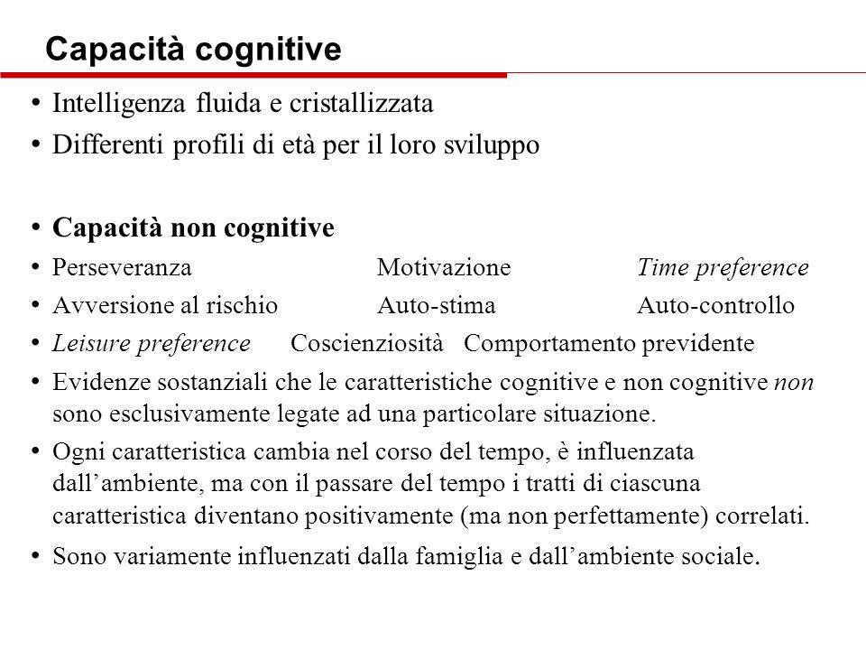 Capacità cognitive Intelligenza fluida e cristallizzata Differenti profili di età per il loro sviluppo Capacità non cognitive PerseveranzaMotivazioneT