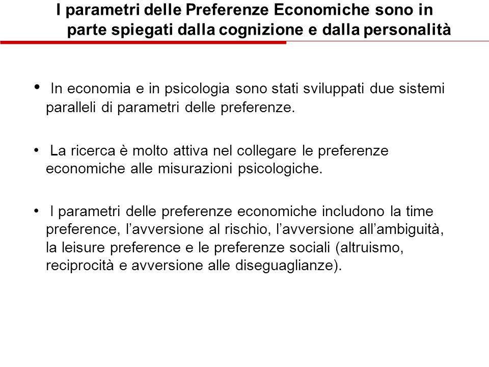 I parametri delle Preferenze Economiche sono in parte spiegati dalla cognizione e dalla personalità In economia e in psicologia sono stati sviluppati