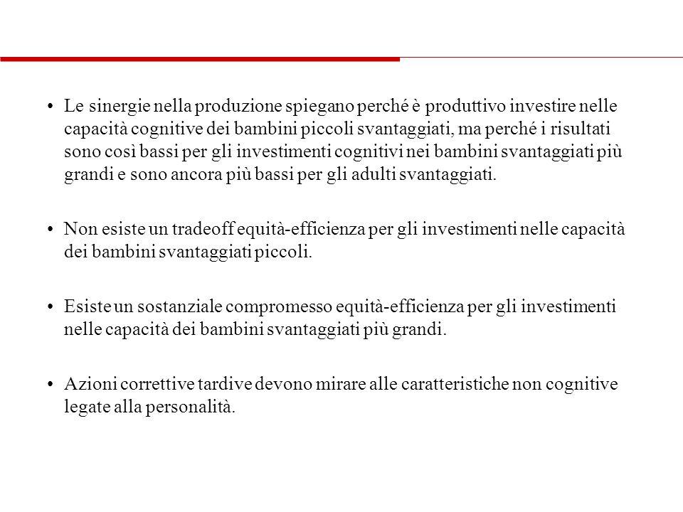 Le sinergie nella produzione spiegano perché è produttivo investire nelle capacità cognitive dei bambini piccoli svantaggiati, ma perché i risultati s