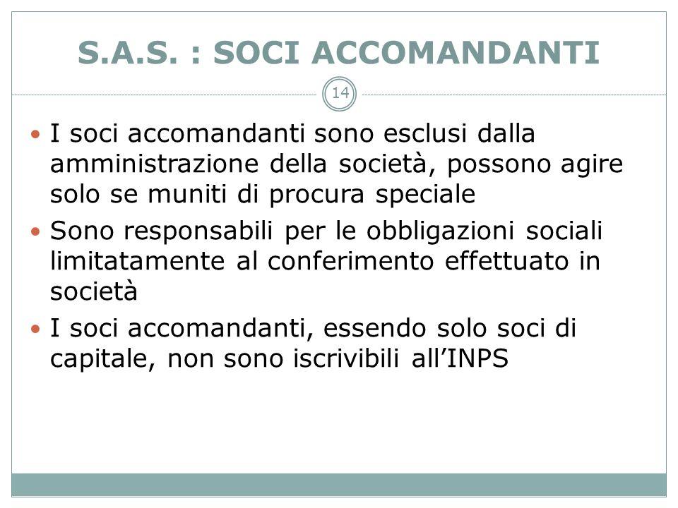 14 S.A.S. : SOCI ACCOMANDANTI I soci accomandanti sono esclusi dalla amministrazione della società, possono agire solo se muniti di procura speciale S
