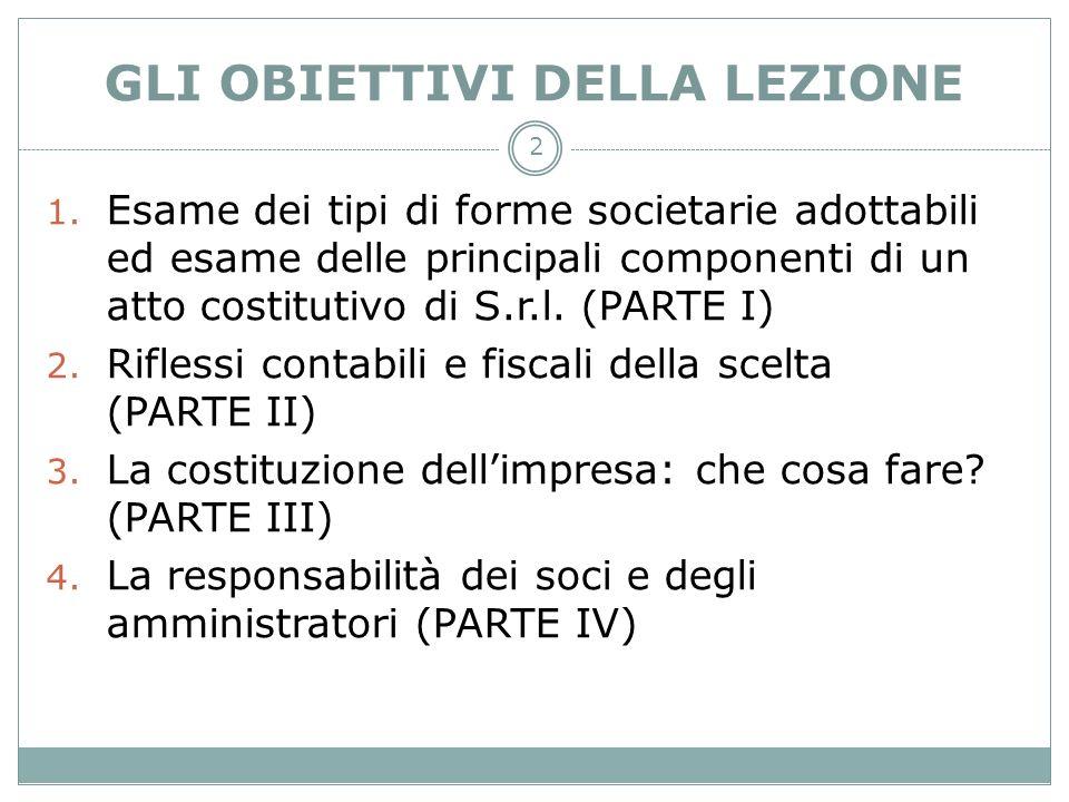 2 GLI OBIETTIVI DELLA LEZIONE 1. Esame dei tipi di forme societarie adottabili ed esame delle principali componenti di un atto costitutivo di S.r.l. (