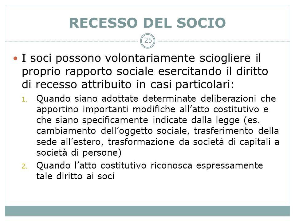 RECESSO DEL SOCIO I soci possono volontariamente sciogliere il proprio rapporto sociale esercitando il diritto di recesso attribuito in casi particola