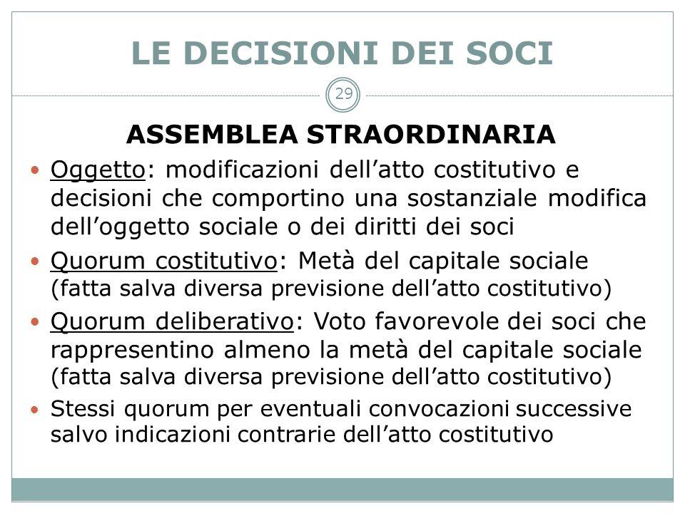 LE DECISIONI DEI SOCI ASSEMBLEA STRAORDINARIA Oggetto: modificazioni dellatto costitutivo e decisioni che comportino una sostanziale modifica dellogge