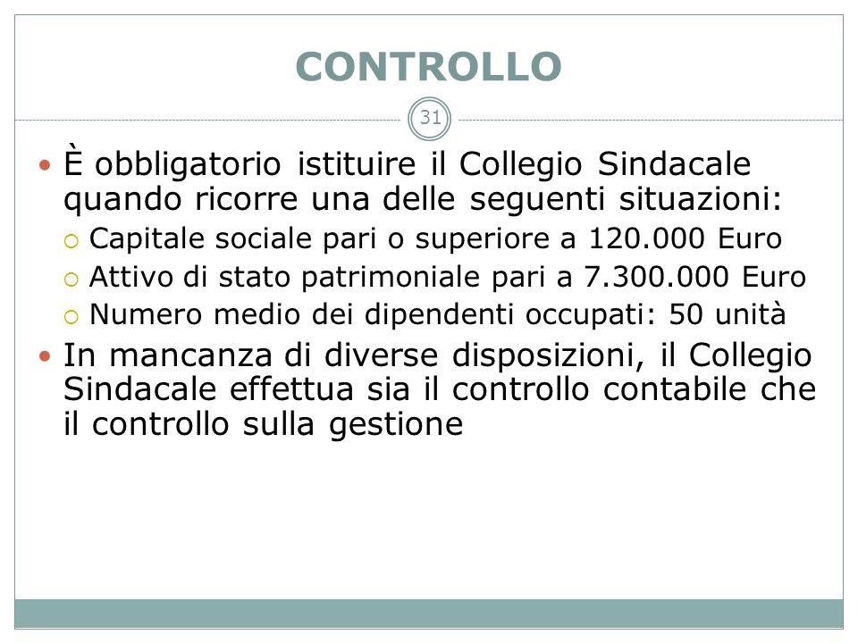 31 CONTROLLO È obbligatorio istituire il Collegio Sindacale quando ricorre una delle seguenti situazioni: Capitale sociale pari o superiore a 120.000