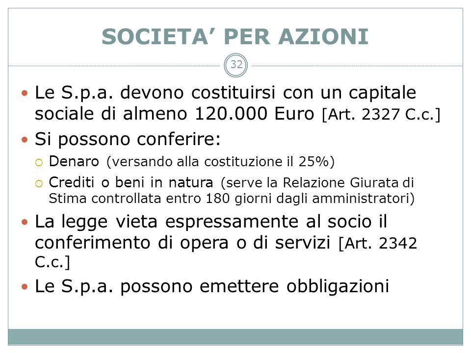 32 SOCIETA PER AZIONI Le S.p.a. devono costituirsi con un capitale sociale di almeno 120.000 Euro [Art. 2327 C.c.] Si possono conferire: Denaro (versa