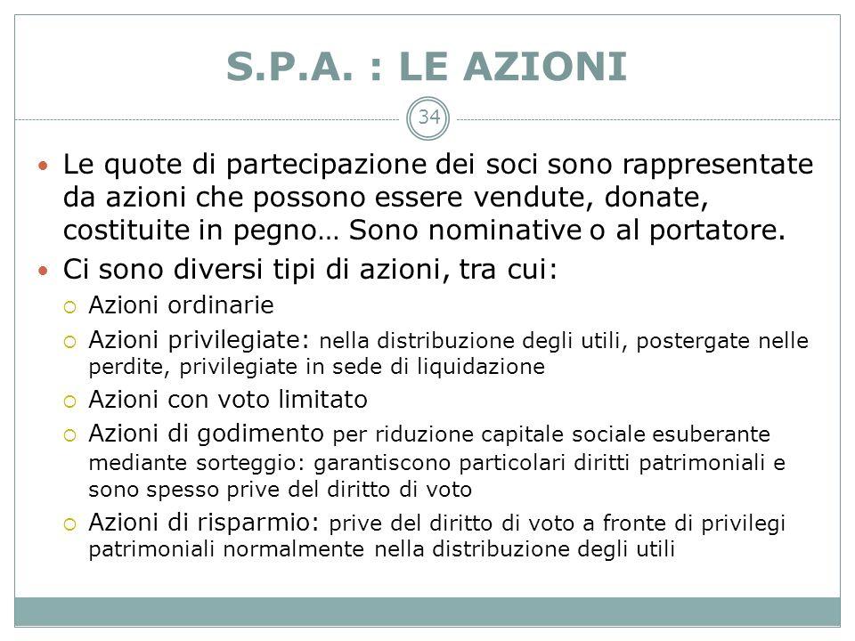 34 S.P.A. : LE AZIONI Le quote di partecipazione dei soci sono rappresentate da azioni che possono essere vendute, donate, costituite in pegno… Sono n