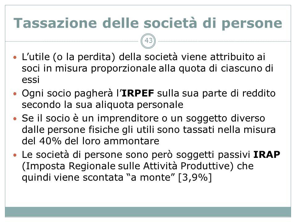 43 Tassazione delle società di persone Lutile (o la perdita) della società viene attribuito ai soci in misura proporzionale alla quota di ciascuno di