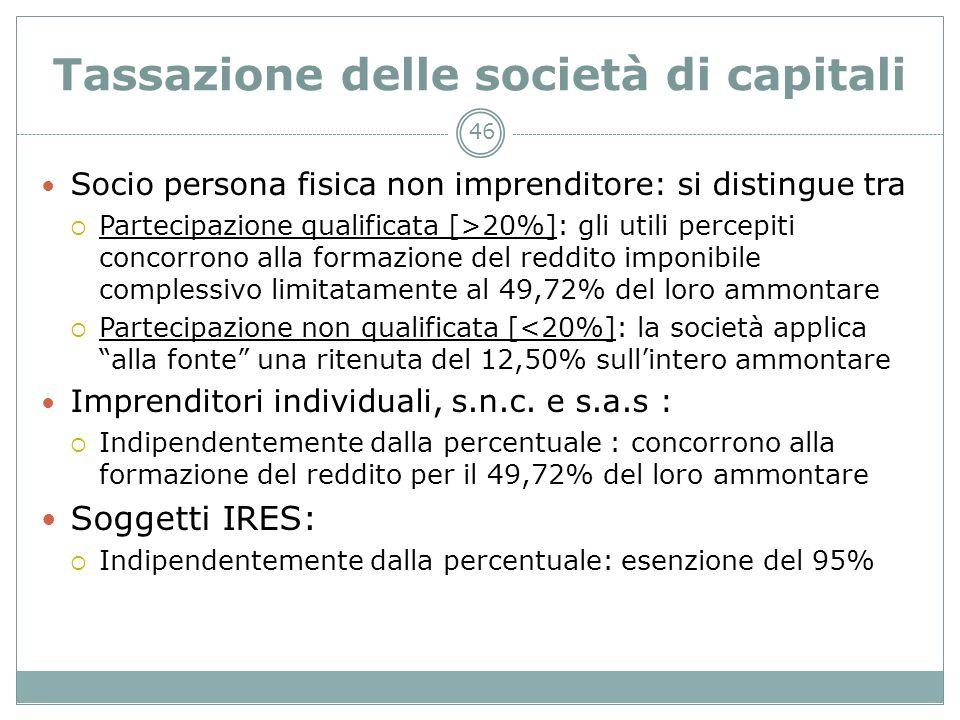46 Tassazione delle società di capitali Socio persona fisica non imprenditore: si distingue tra Partecipazione qualificata [>20%]: gli utili percepiti