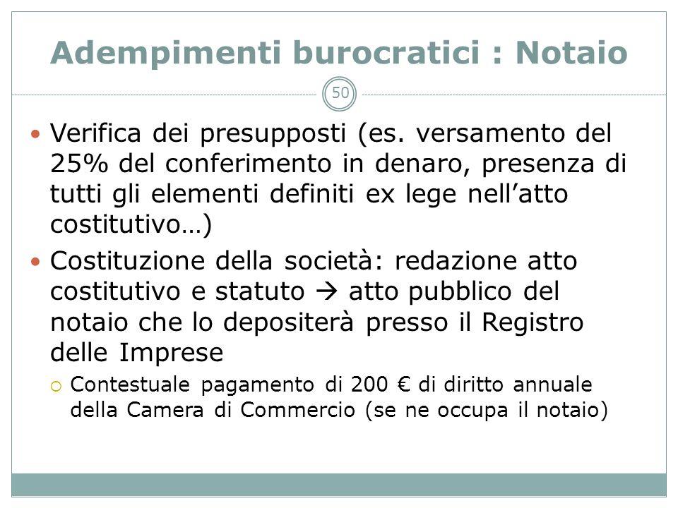 50 Adempimenti burocratici : Notaio Verifica dei presupposti (es. versamento del 25% del conferimento in denaro, presenza di tutti gli elementi defini