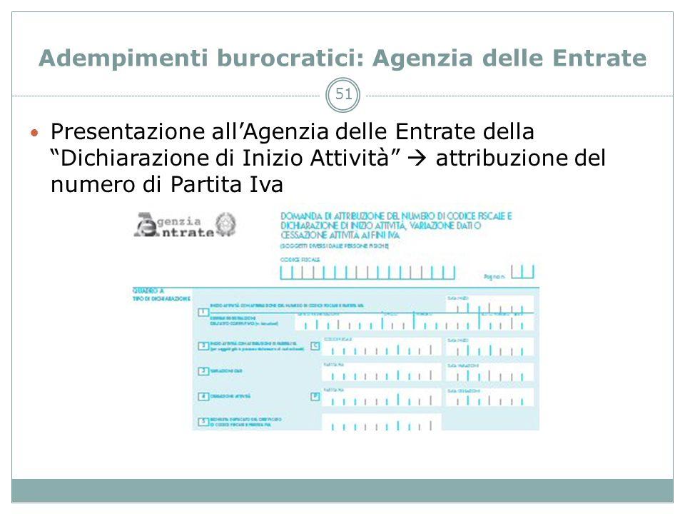 51 Adempimenti burocratici: Agenzia delle Entrate Presentazione allAgenzia delle Entrate della Dichiarazione di Inizio Attività attribuzione del numer
