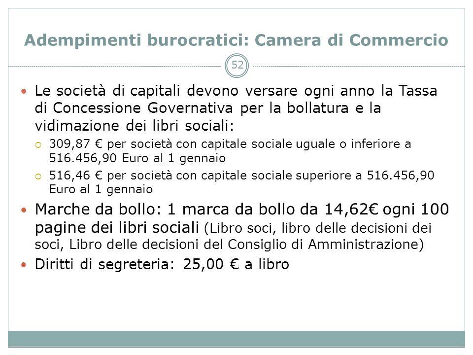 52 Adempimenti burocratici: Camera di Commercio Le società di capitali devono versare ogni anno la Tassa di Concessione Governativa per la bollatura e