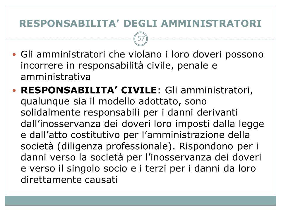 RESPONSABILITA DEGLI AMMINISTRATORI Gli amministratori che violano i loro doveri possono incorrere in responsabilità civile, penale e amministrativa R