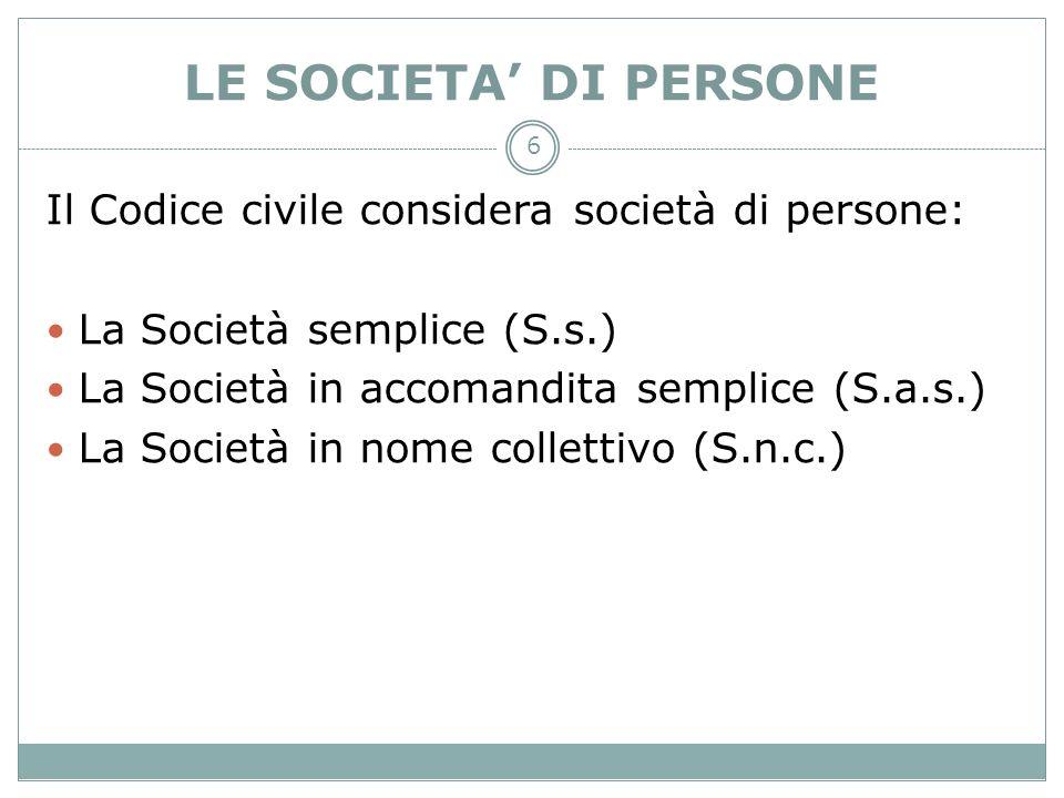6 LE SOCIETA DI PERSONE Il Codice civile considera società di persone: La Società semplice (S.s.) La Società in accomandita semplice (S.a.s.) La Socie