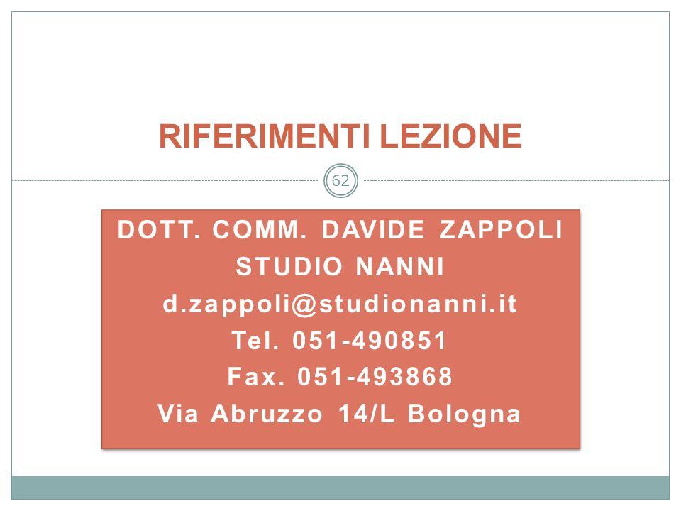 62 DOTT. COMM. DAVIDE ZAPPOLI STUDIO NANNI d.zappoli@studionanni.it Tel. 051-490851 Fax. 051-493868 Via Abruzzo 14/L Bologna DOTT. COMM. DAVIDE ZAPPOL
