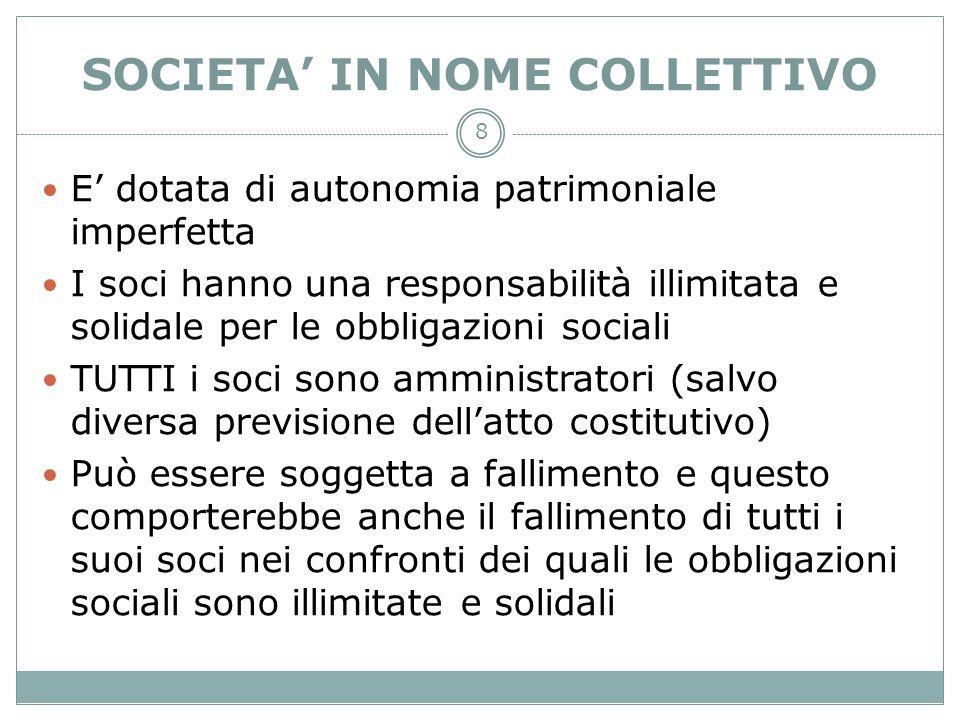 8 SOCIETA IN NOME COLLETTIVO E dotata di autonomia patrimoniale imperfetta I soci hanno una responsabilità illimitata e solidale per le obbligazioni s