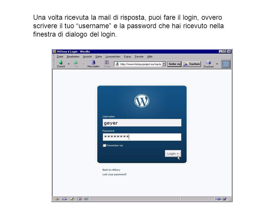 Una volta ricevuta la mail di risposta, puoi fare il login, ovvero scrivere il tuo username e la password che hai ricevuto nella finestra di dialogo d
