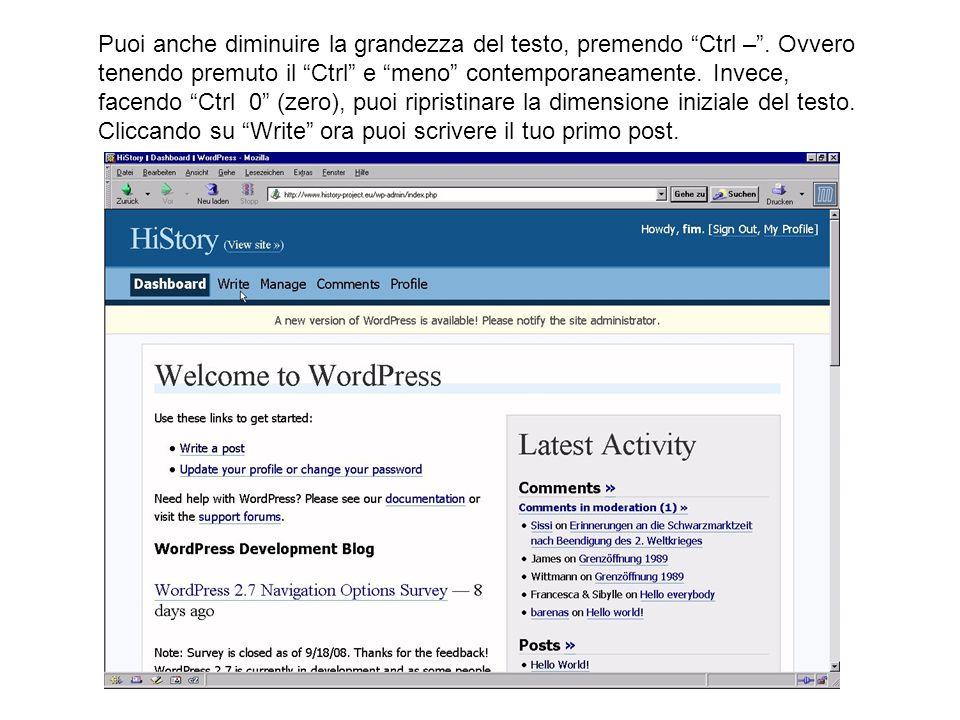Se vuoi andare dallinterfaccia del blog alla home page clicca su View site >> in alto a sinistra.