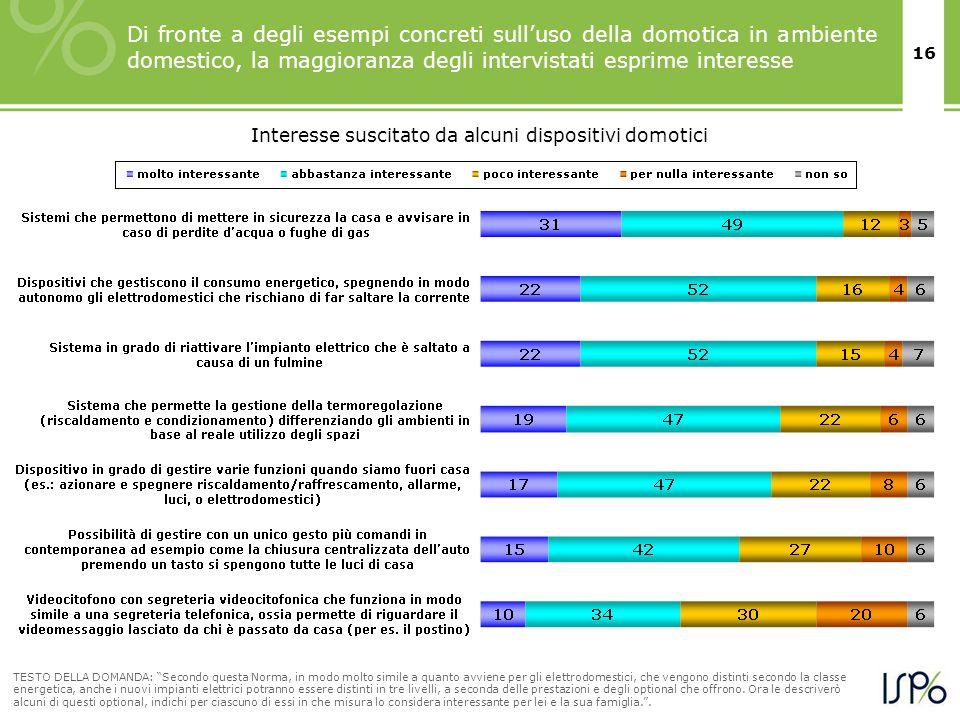 16 Di fronte a degli esempi concreti sulluso della domotica in ambiente domestico, la maggioranza degli intervistati esprime interesse TESTO DELLA DOM