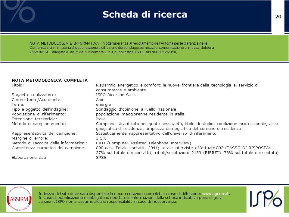 20 NOTA METODOLOGIA E INFORMATIVA (in ottemperanza al regolamento dellAutorità per le Garanzie nelle Comunicazioni in materia di pubblicazione e diffu