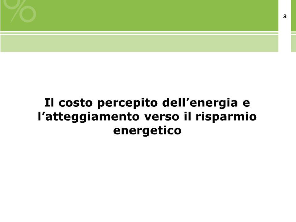 3 Il costo percepito dellenergia e latteggiamento verso il risparmio energetico