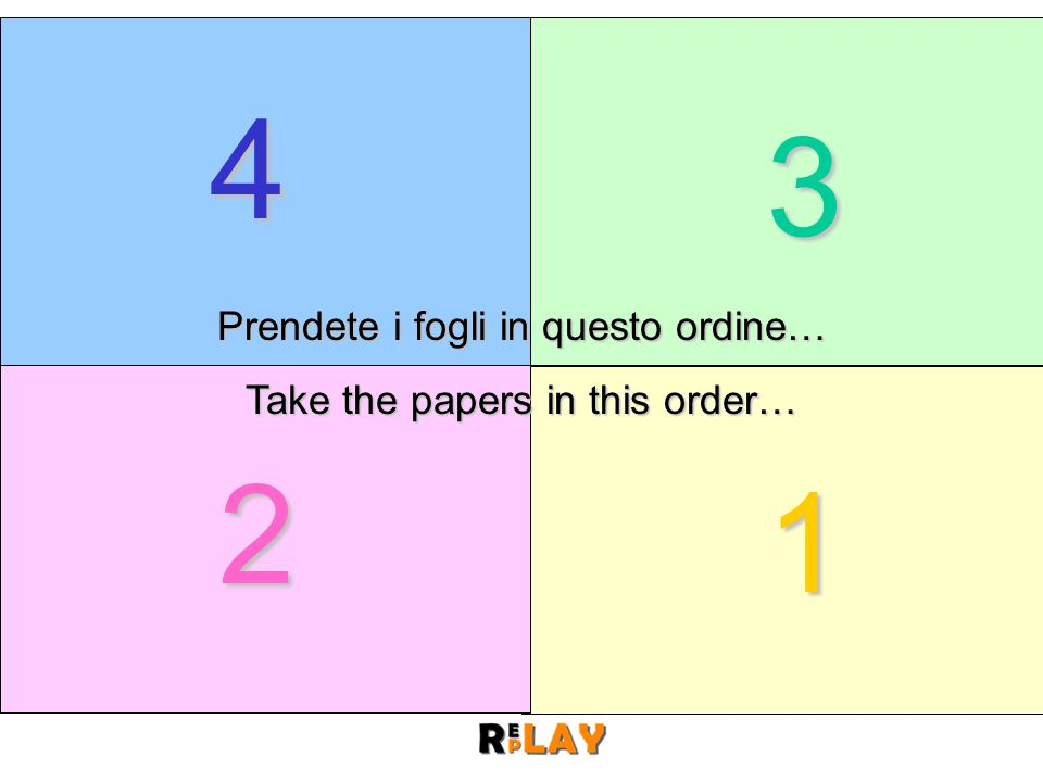 Prendete i fogli in questo ordine… Take the papers in this order…
