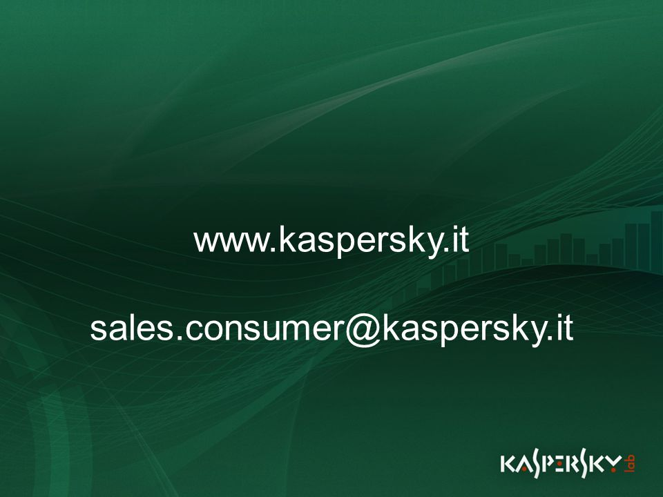 Click to edit Master title style Click to edit Master text styles –Second level Third level –Fourth level »Fifth level June 10 th, 2009Event details (title, place) www.kaspersky.it sales.consumer@kaspersky.it