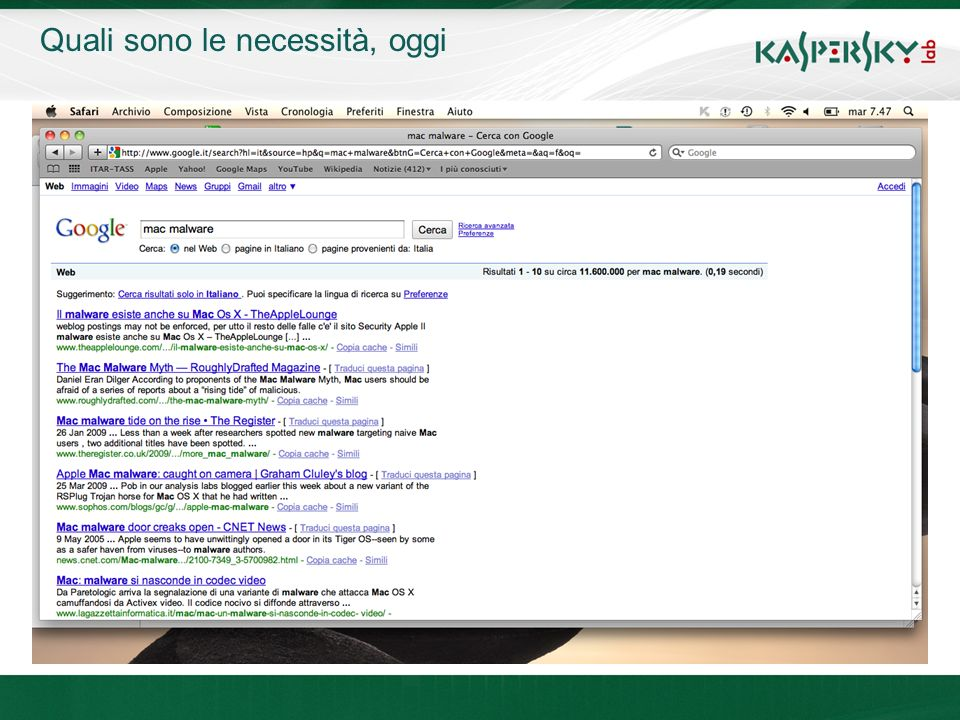 Click to edit Master title style Click to edit Master text styles –Second level Third level –Fourth level »Fifth level June 10 th, 2009Event details (title, place) Quali sono le necessità, oggi