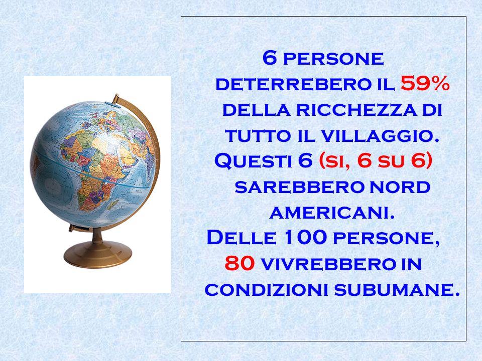 6 persone deterrebero il 59% della ricchezza di tutto il villaggio. Questi 6 (si, 6 su 6) sarebbero nord americani. Delle 100 persone, 80 vivrebbero i