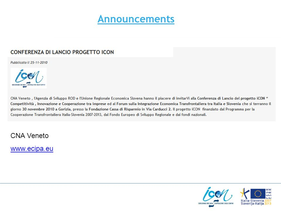 CNA Veneto www.ecipa.eu Announcements