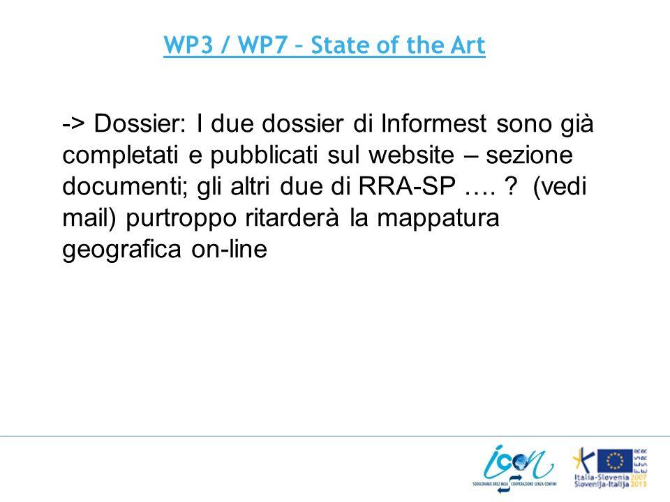 WP3 / WP7 – State of the Art -> Dossier: I due dossier di Informest sono già completati e pubblicati sul website – sezione documenti; gli altri due di RRA-SP ….