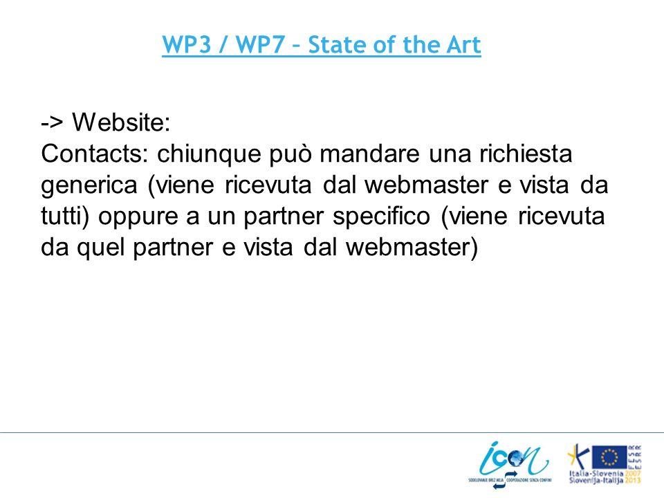 WP3 / WP7 – State of the Art -> Website: Contacts: chiunque può mandare una richiesta generica (viene ricevuta dal webmaster e vista da tutti) oppure a un partner specifico (viene ricevuta da quel partner e vista dal webmaster)