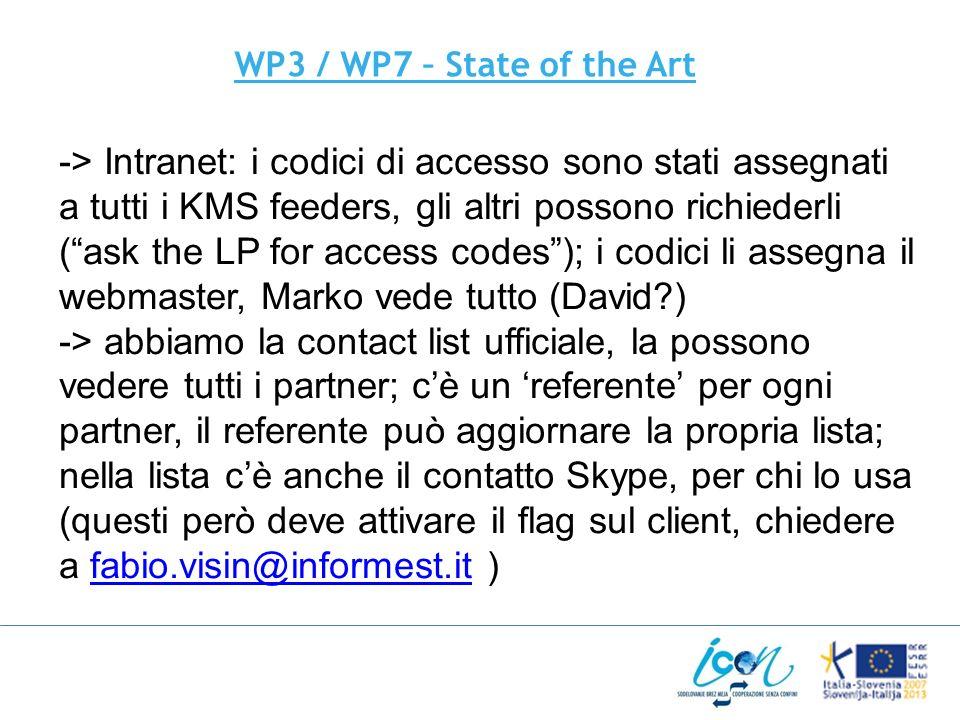 WP3 / WP7 – State of the Art -> Intranet: i codici di accesso sono stati assegnati a tutti i KMS feeders, gli altri possono richiederli (ask the LP for access codes); i codici li assegna il webmaster, Marko vede tutto (David ) -> abbiamo la contact list ufficiale, la possono vedere tutti i partner; cè un referente per ogni partner, il referente può aggiornare la propria lista; nella lista cè anche il contatto Skype, per chi lo usa (questi però deve attivare il flag sul client, chiedere a fabio.visin@informest.it )fabio.visin@informest.it