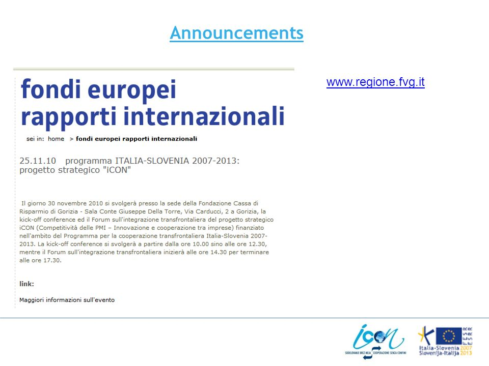 Announcements www.regione.fvg.it