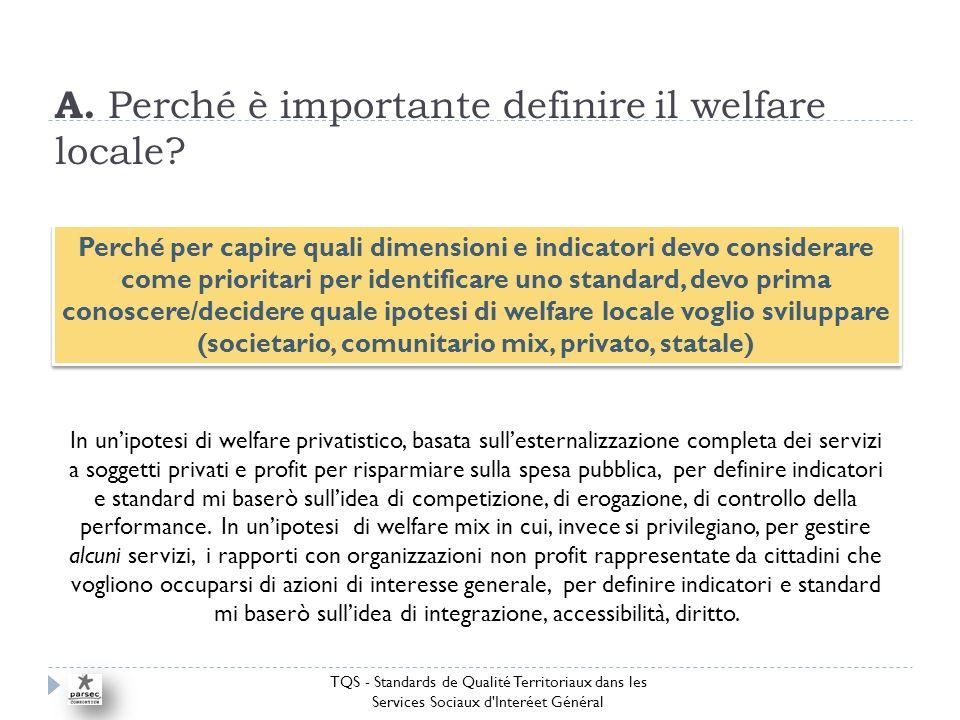 A. Perché è importante definire il welfare locale.