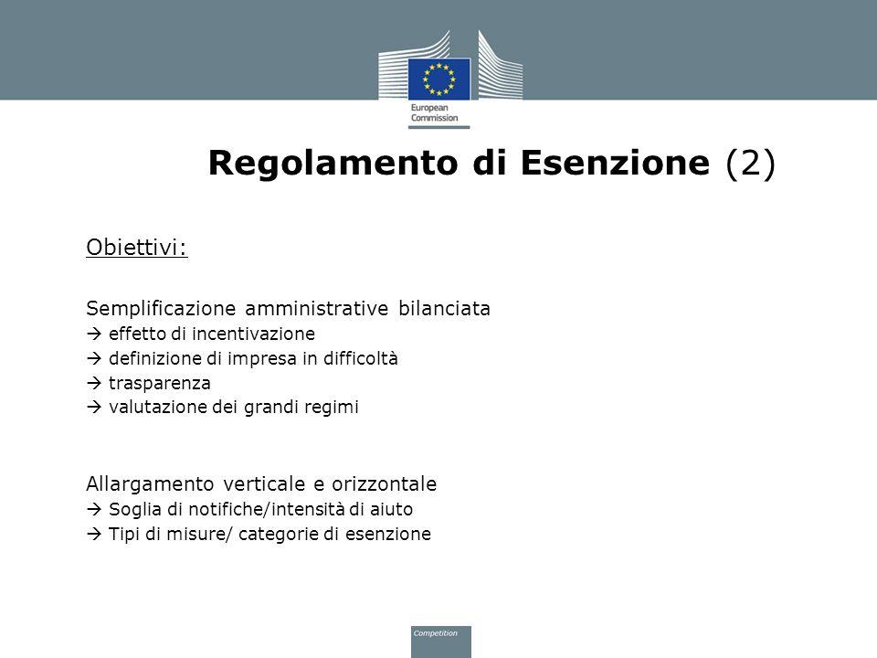 Regolamento di Esenzione (2) Obiettivi: Semplificazione amministrative bilanciata effetto di incentivazione definizione di impresa in difficoltà trasp