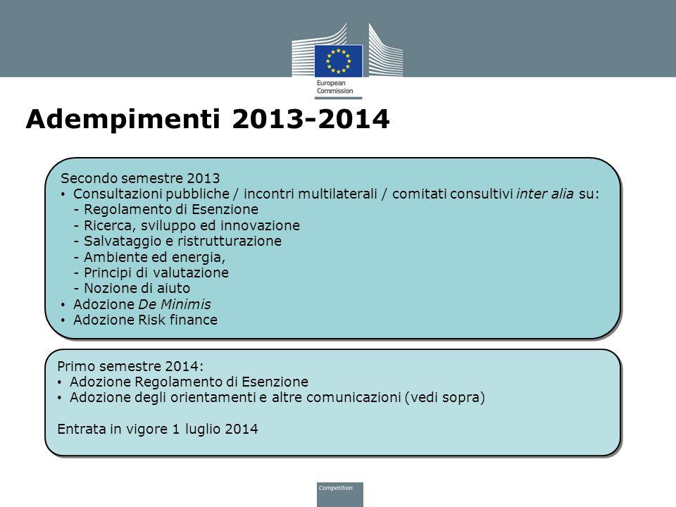 Adempimenti 2013-2014 Secondo semestre 2013 Consultazioni pubbliche / incontri multilaterali / comitati consultivi inter alia su: - Regolamento di Ese