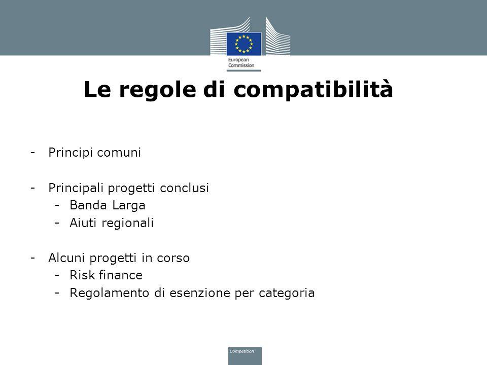 Le regole di compatibilità -Principi comuni -Principali progetti conclusi -Banda Larga -Aiuti regionali -Alcuni progetti in corso -Risk finance -Regol