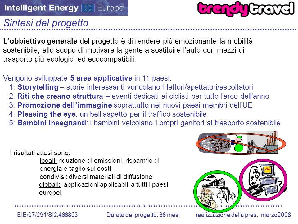 EIE/07/291/SI2.466803 Durata del progetto: 36 mesirealizzazione della pres.: marzo2008 Sintesi del progetto Lobbiettivo generale del progetto è di ren