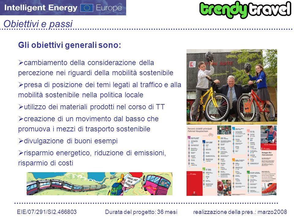 EIE/07/291/SI2.466803 Durata del progetto: 36 mesirealizzazione della pres.: marzo2008 Obiettivi e passi Gli obiettivi generali sono: cambiamento dell