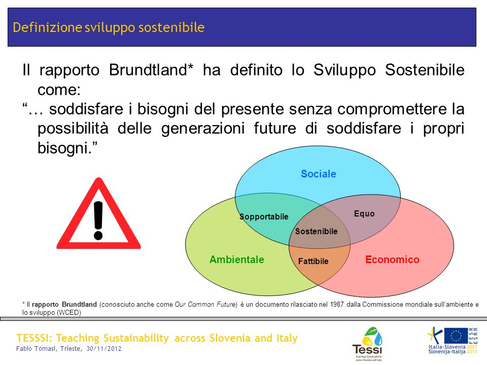 TESSSI: Teaching Sustainability across Slovenia and Italy Fabio Tomasi, Trieste, 30/11/2012 Definizione sviluppo sostenibile Il rapporto Brundtland* h