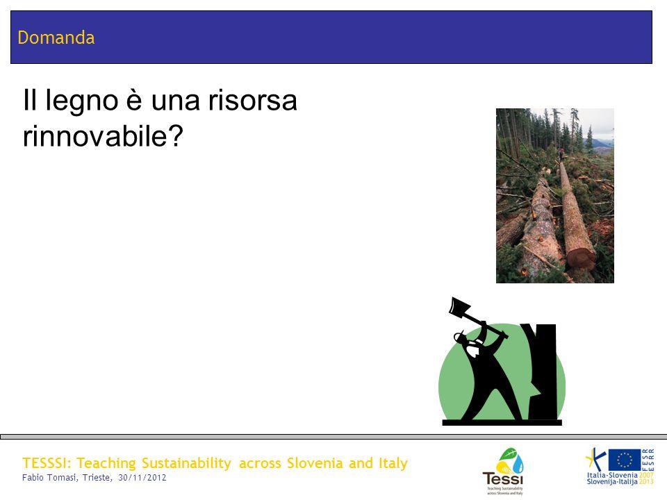 TESSSI: Teaching Sustainability across Slovenia and Italy Fabio Tomasi, Trieste, 30/11/2012 Domanda Il legno è una risorsa rinnovabile?
