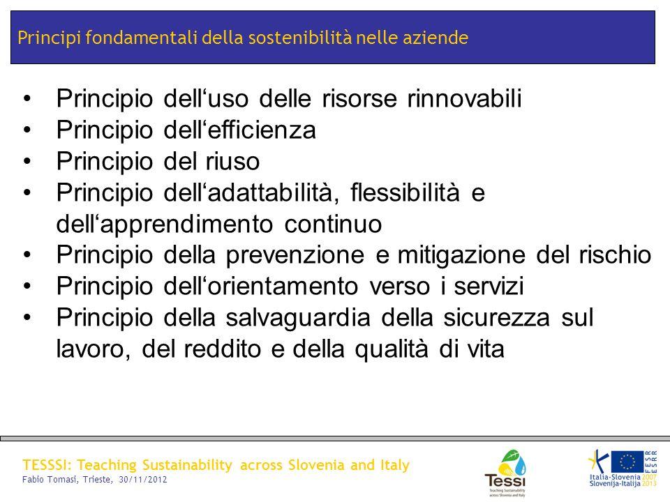 TESSSI: Teaching Sustainability across Slovenia and Italy Fabio Tomasi, Trieste, 30/11/2012 Principi fondamentali della sostenibilità nelle aziende Pr