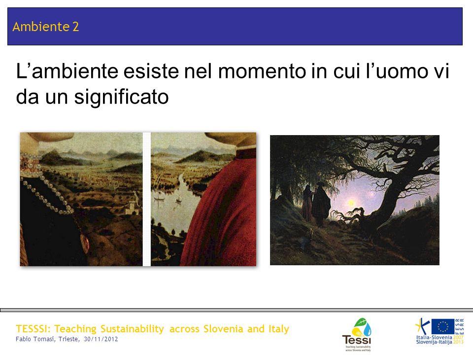 TESSSI: Teaching Sustainability across Slovenia and Italy Fabio Tomasi, Trieste, 30/11/2012 Ambiente 2 Lambiente esiste nel momento in cui luomo vi da