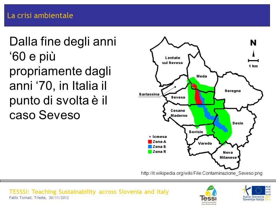 TESSSI: Teaching Sustainability across Slovenia and Italy Fabio Tomasi, Trieste, 30/11/2012 La crisi ambientale Dalla fine degli anni 60 e più propria