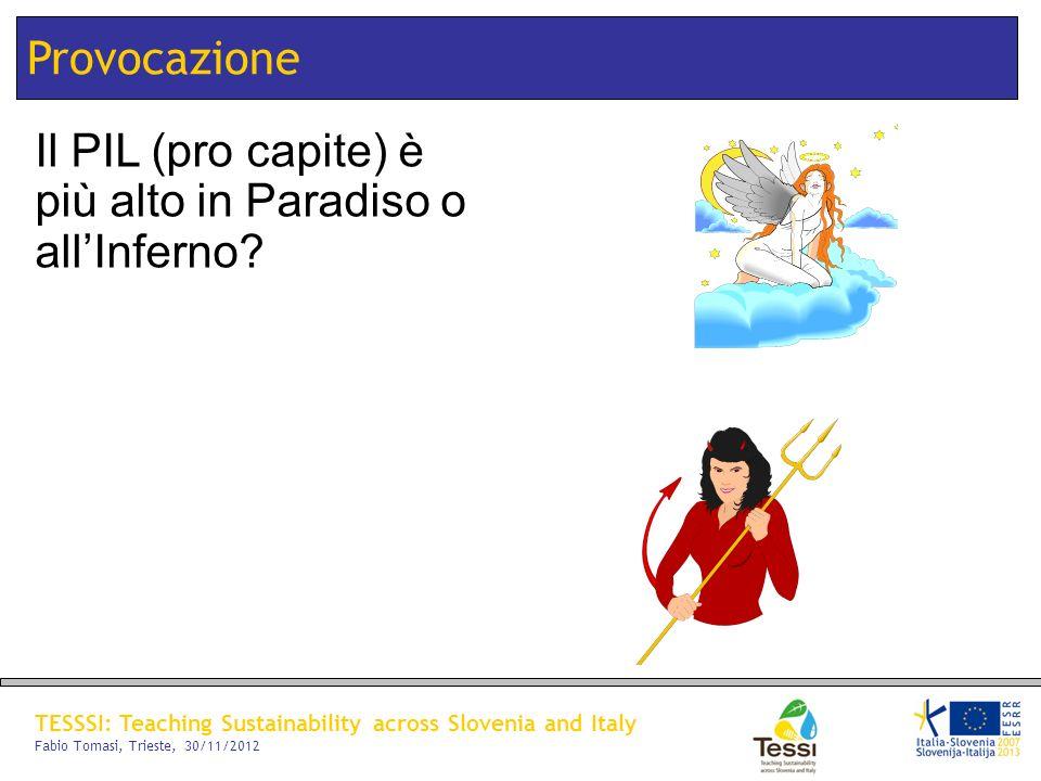 TESSSI: Teaching Sustainability across Slovenia and Italy Fabio Tomasi, Trieste, 30/11/2012 Provocazione Il PIL (pro capite) è più alto in Paradiso o