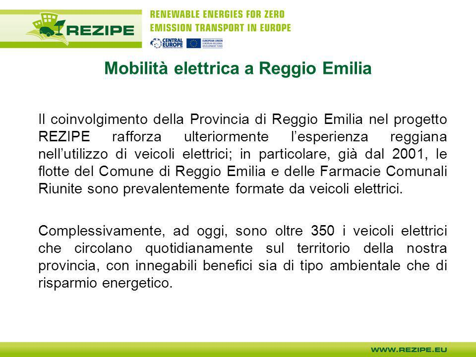 Mobilità elettrica a Reggio Emilia Il coinvolgimento della Provincia di Reggio Emilia nel progetto REZIPE rafforza ulteriormente lesperienza reggiana