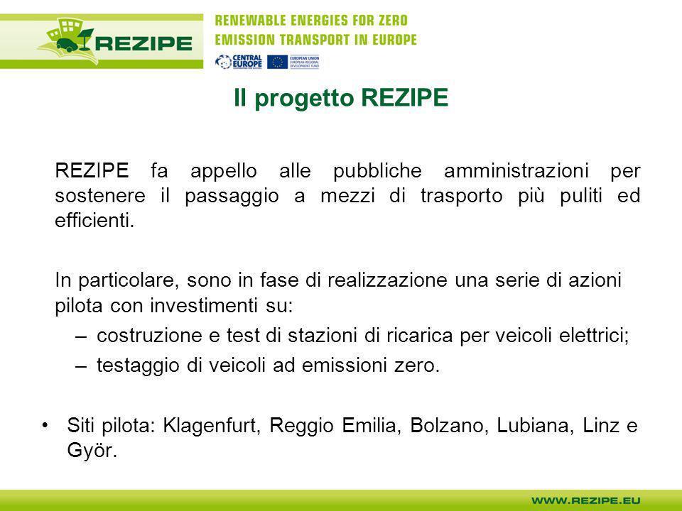 REZIPE a Reggio Emilia A Reggio Emilia verrà realizzata una stazione di ricarica sperimentale a pannelli fotovoltaici per la ricarica di 5 veicoli elettrici che potranno essere utilizzati in ambito urbano.